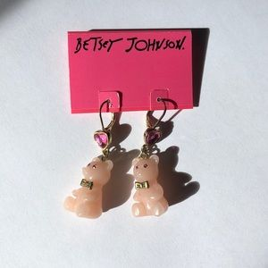 Betsey Johnson Pink Teddy Bear Drop Earrings
